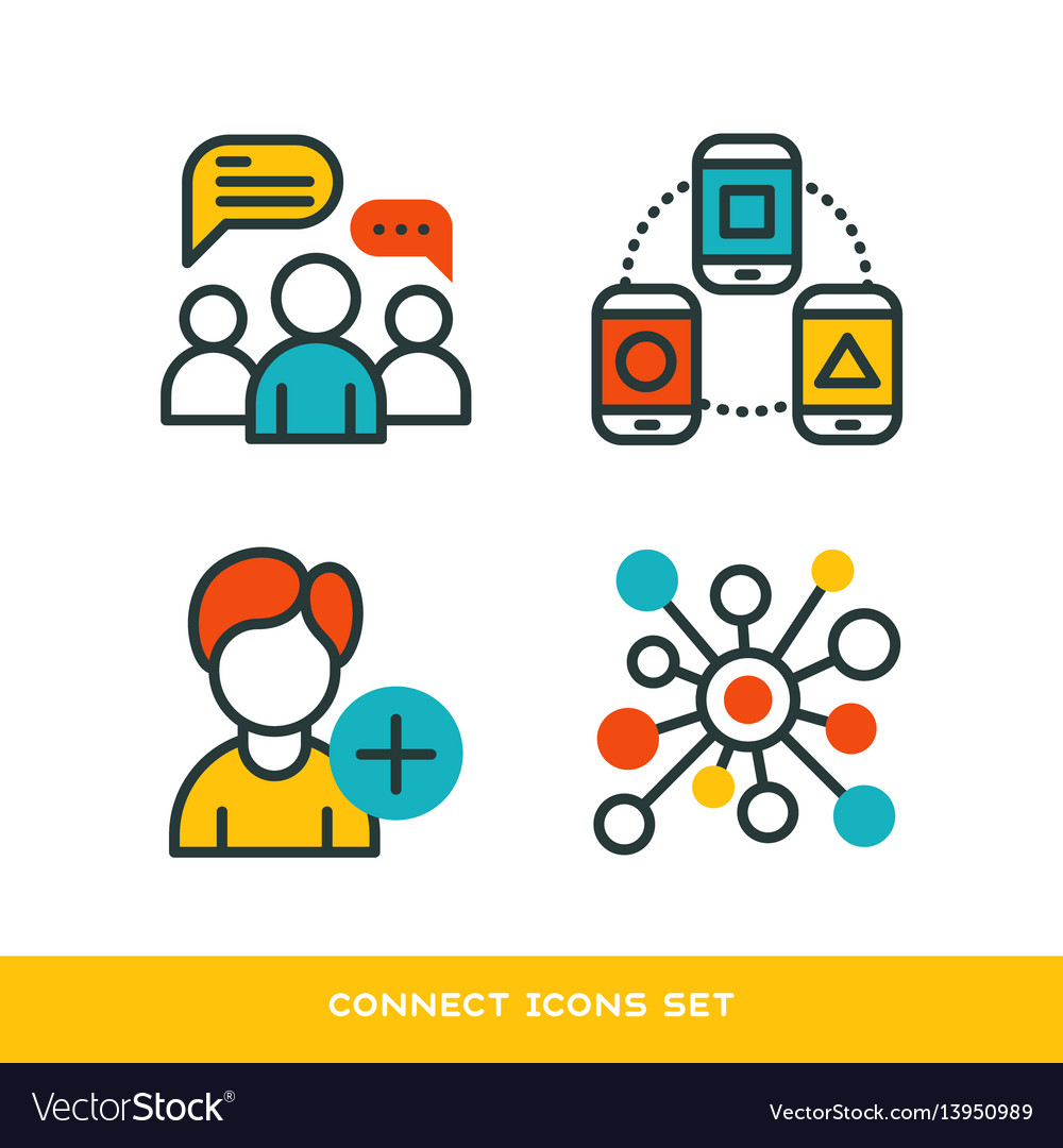 Thin lines connection icons outline set of big vector image