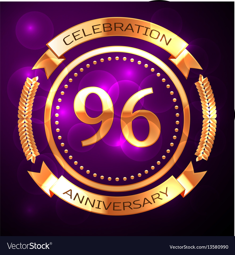 Ninety six years anniversary celebration with vector image