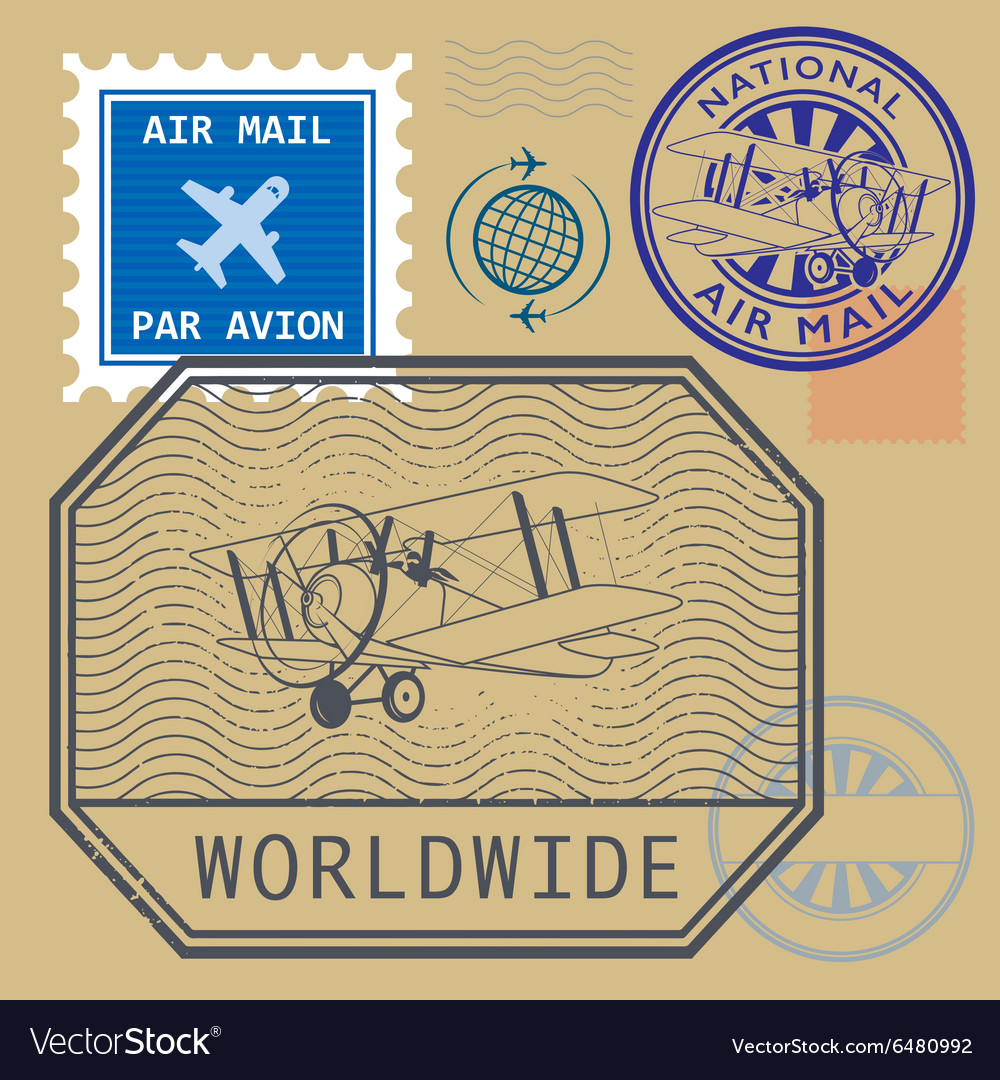 Set of air mail symbols vector image