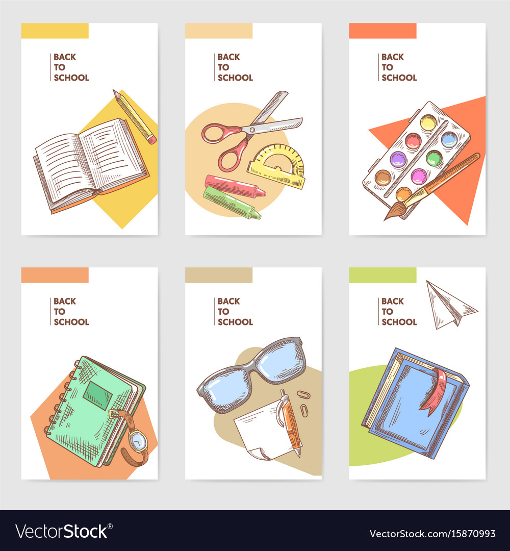 Hand drawn back to school cards brochure design vector image