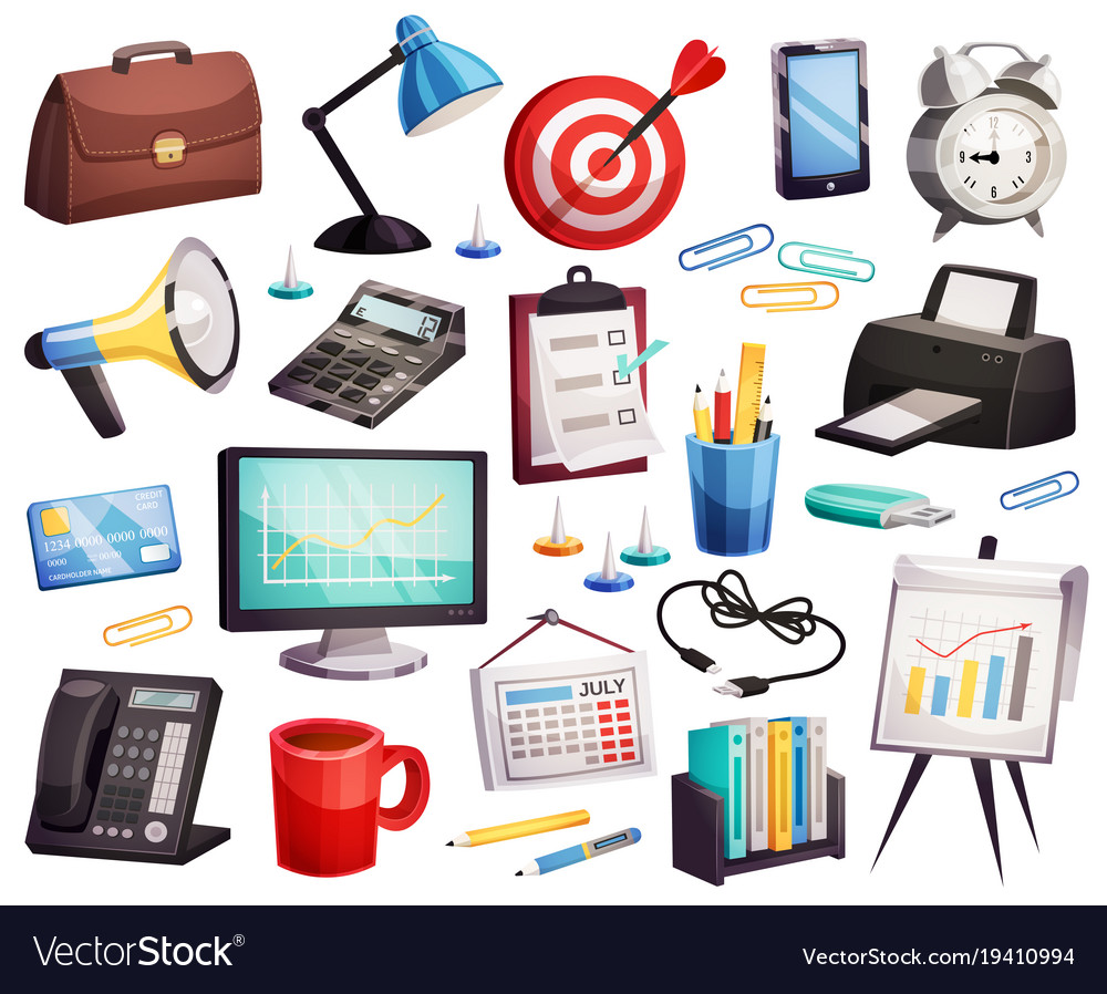 Business office accessories symbols collection Vector Image