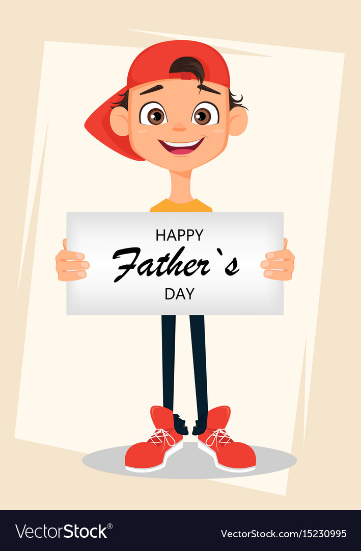 Happy fathers day greeting card boy holding sign vector image
