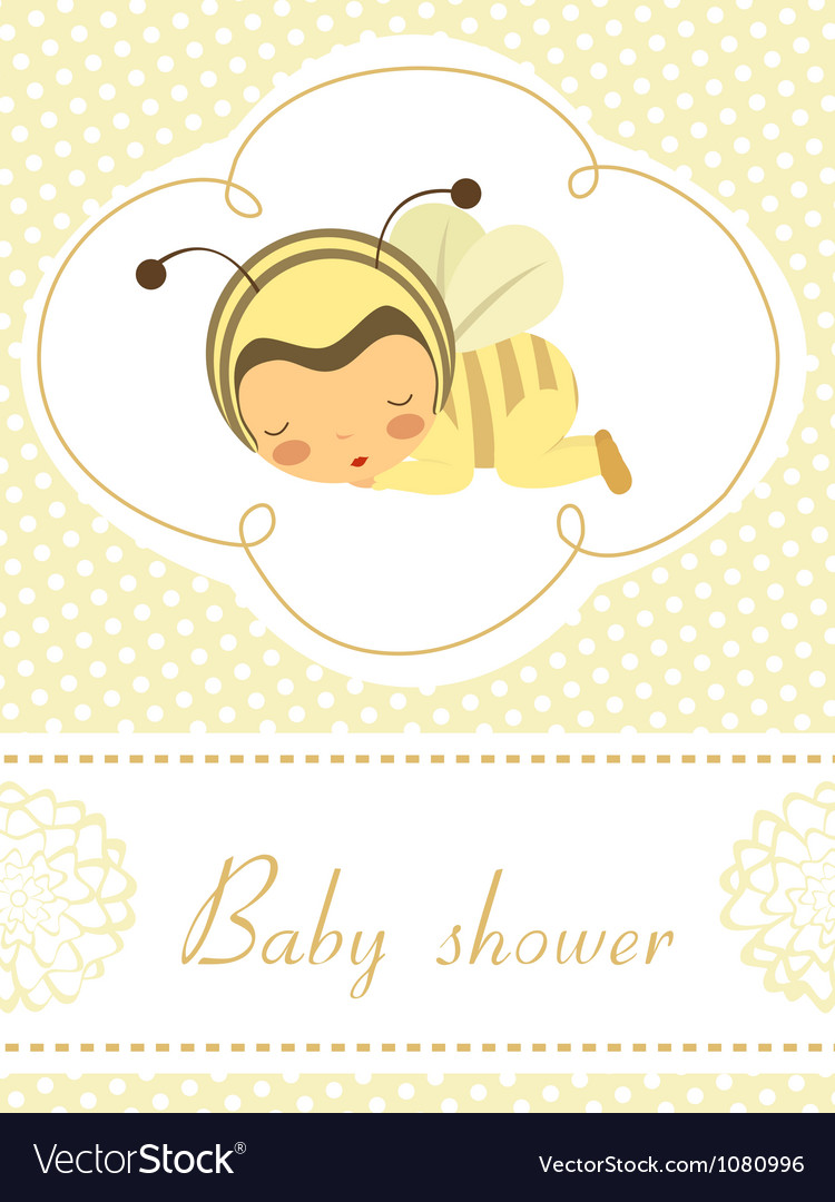 Baby shower card with sleeping bee girl Vector Image