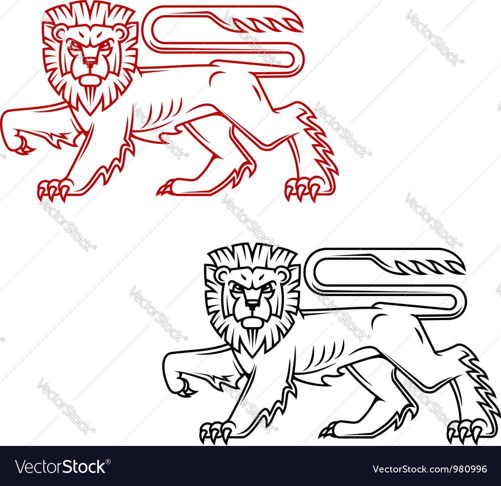 Heraldic lion king in retro cartoon style vector image