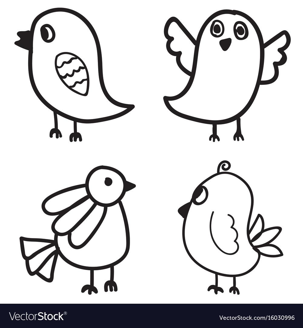 Set of bird hand drawn design vector image