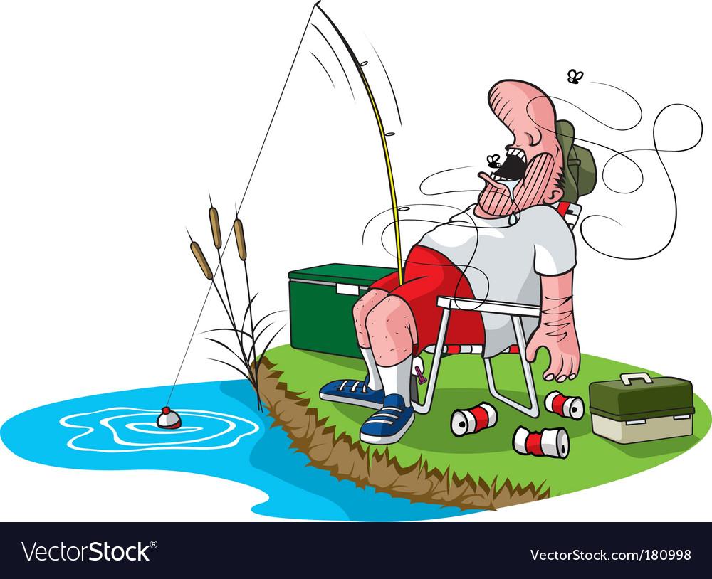 Sleeping fisherman vector image