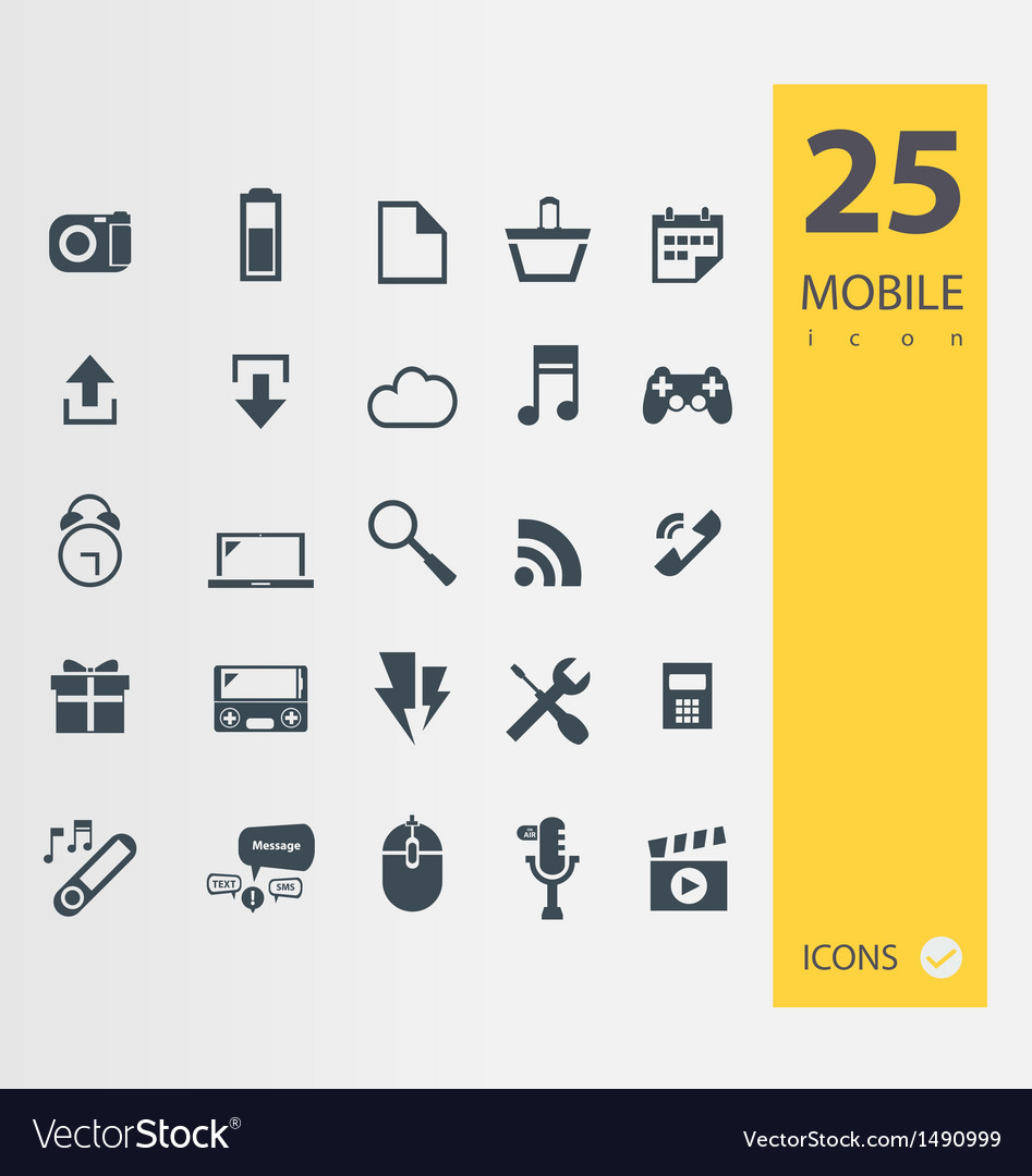 Mobile icons set vector image