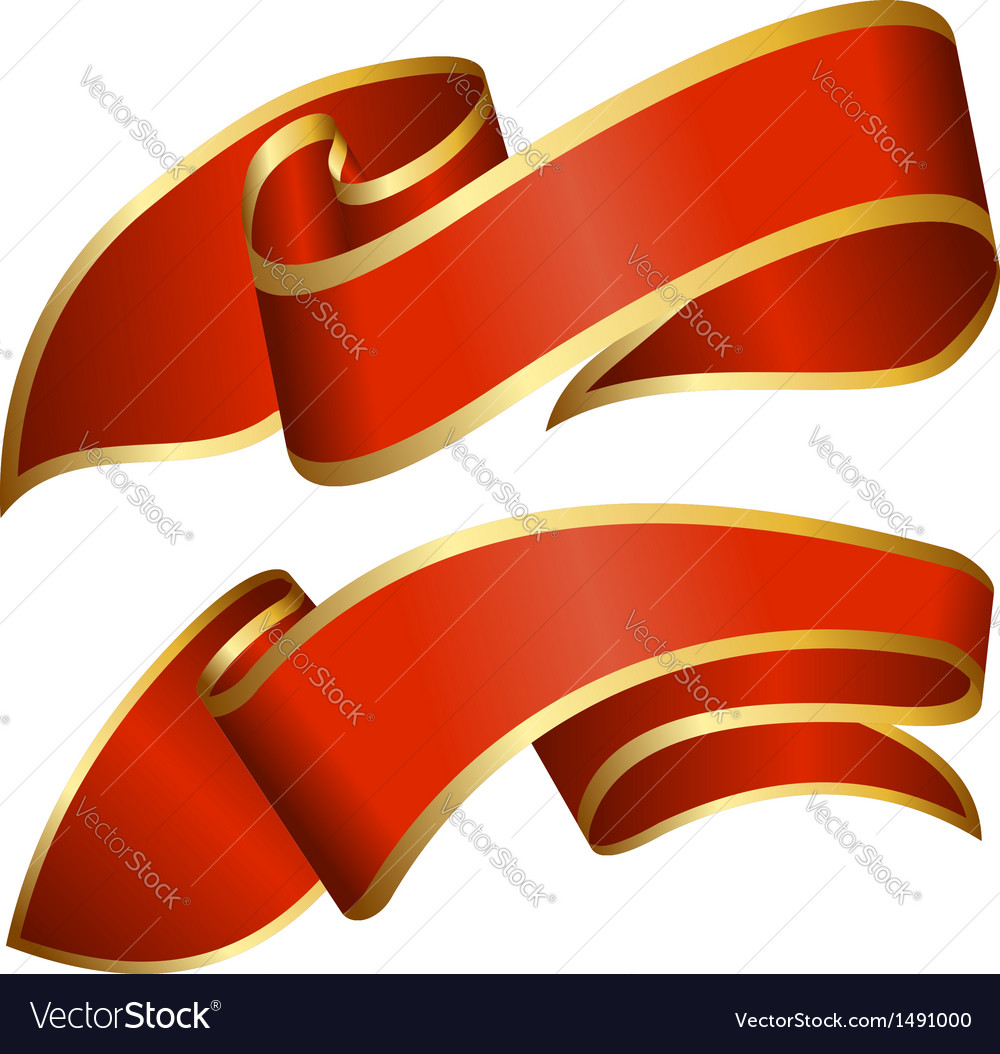 Red ribbon collection isolated on white background vector image