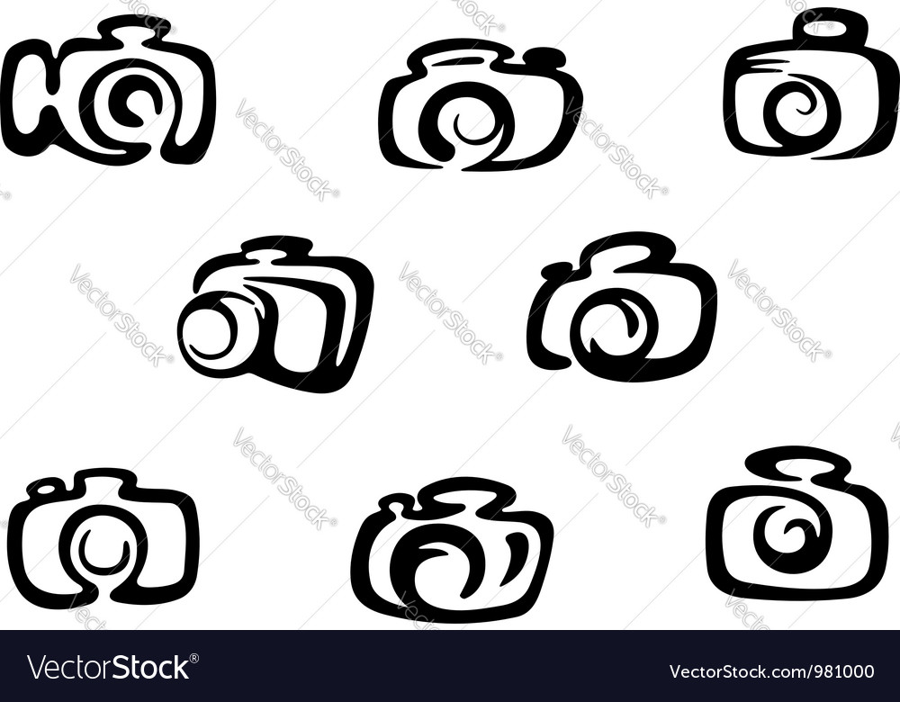 Set of photo camera symbols vector image
