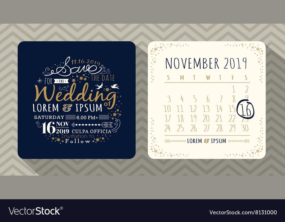Vintage typography wedding invitation vector image