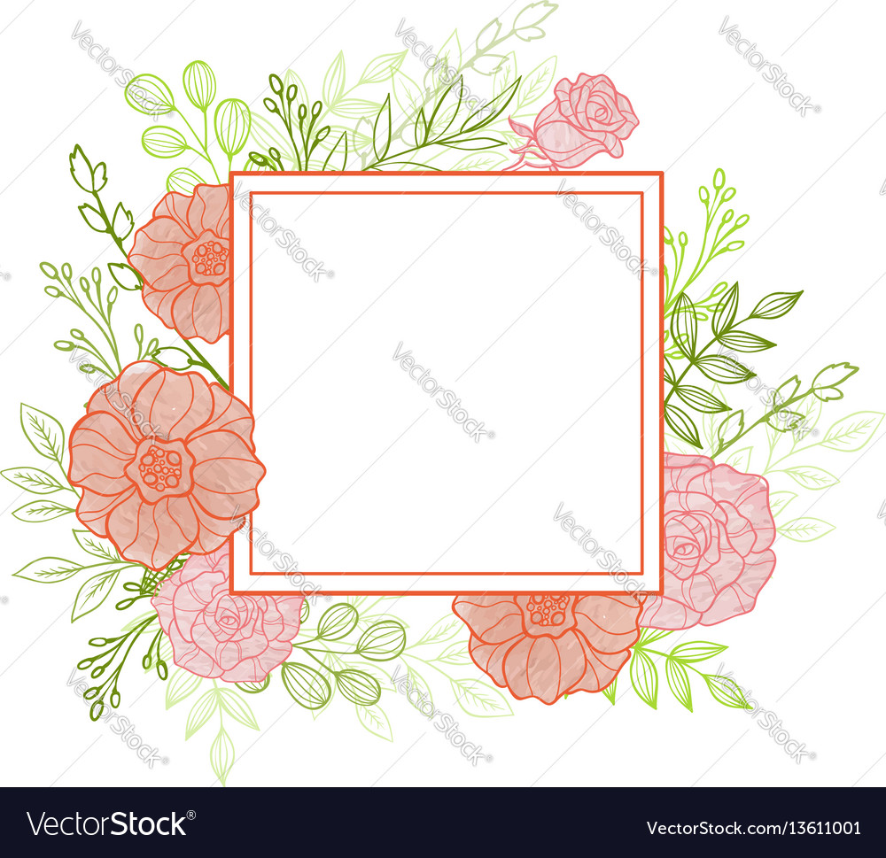 Pink flowers and green leaves vector image