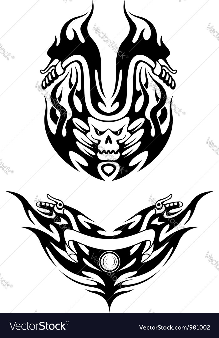 Two bike tattoos in tribal style vector image
