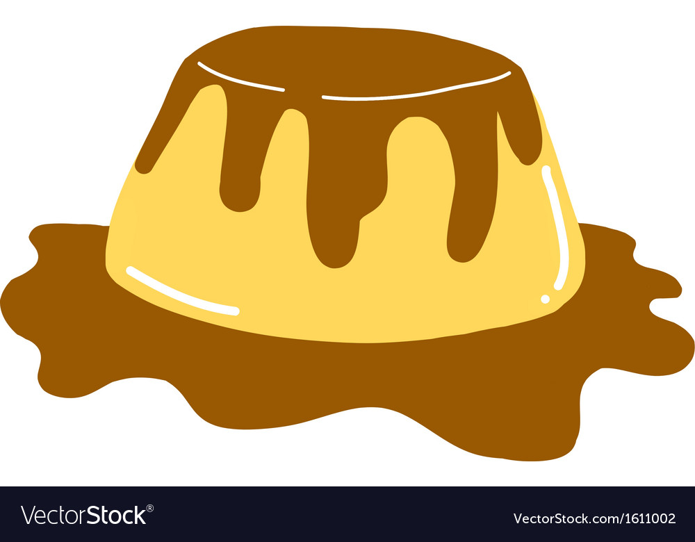 Delicious yogurt pudding with caramel vector image