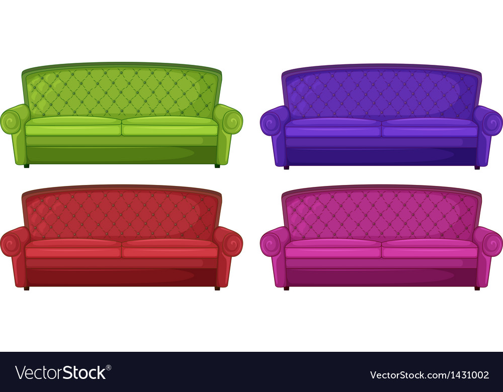 Four colorful sofas vector image