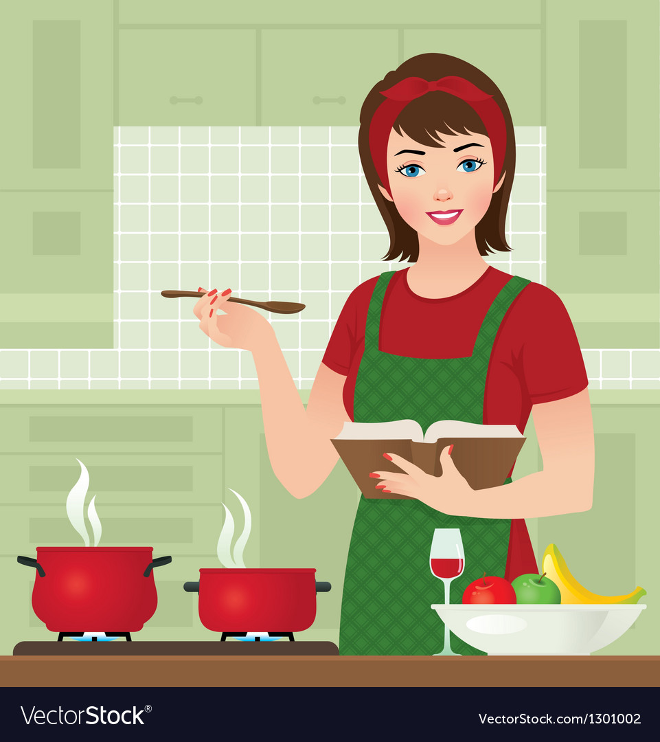 Housewife in the kitchen vector image