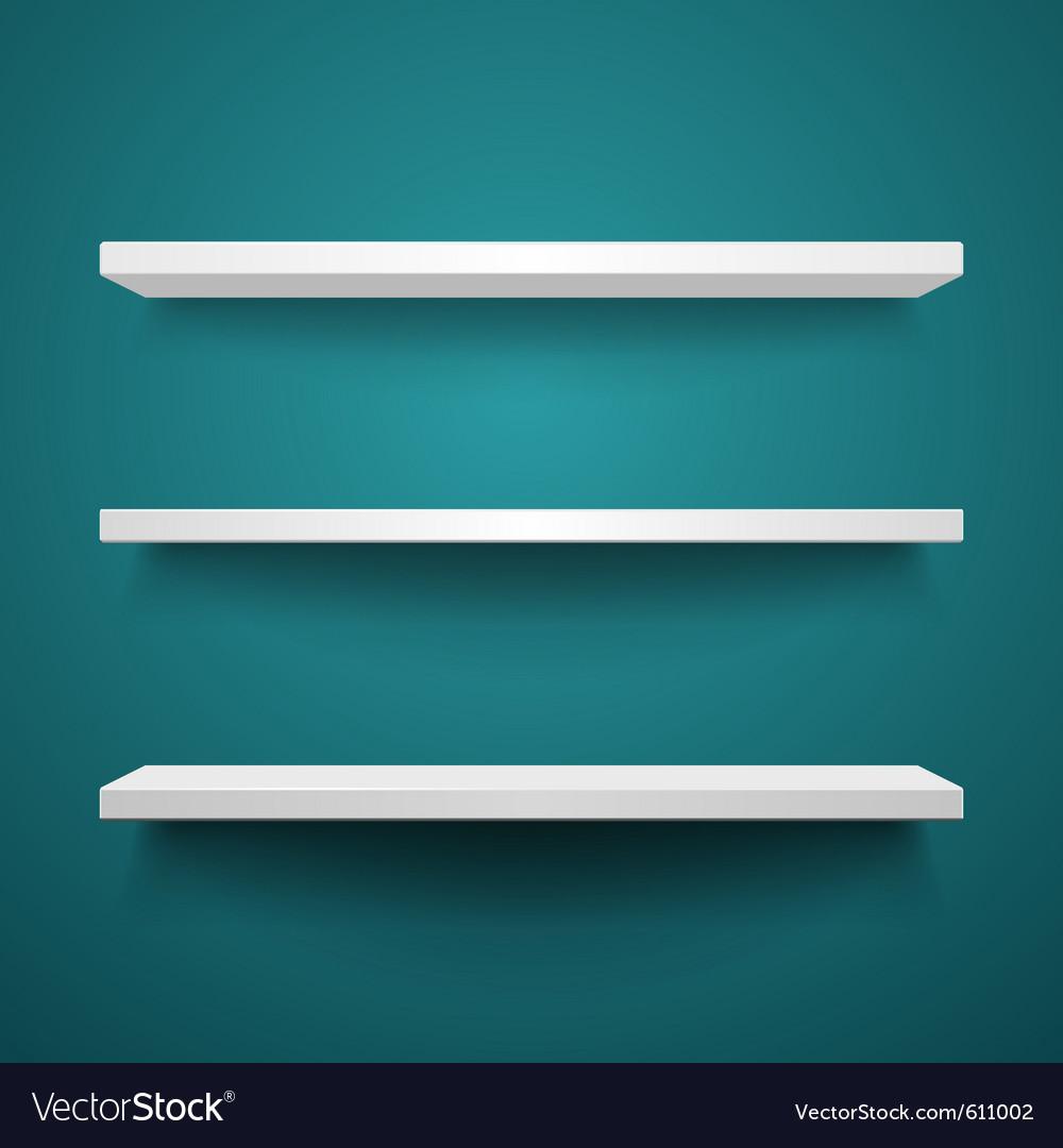 White shelves on wall vector image