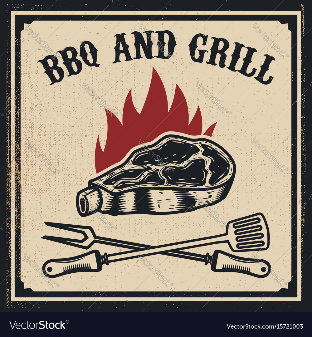 Barbecue and grill grilled meat with fork and vector image