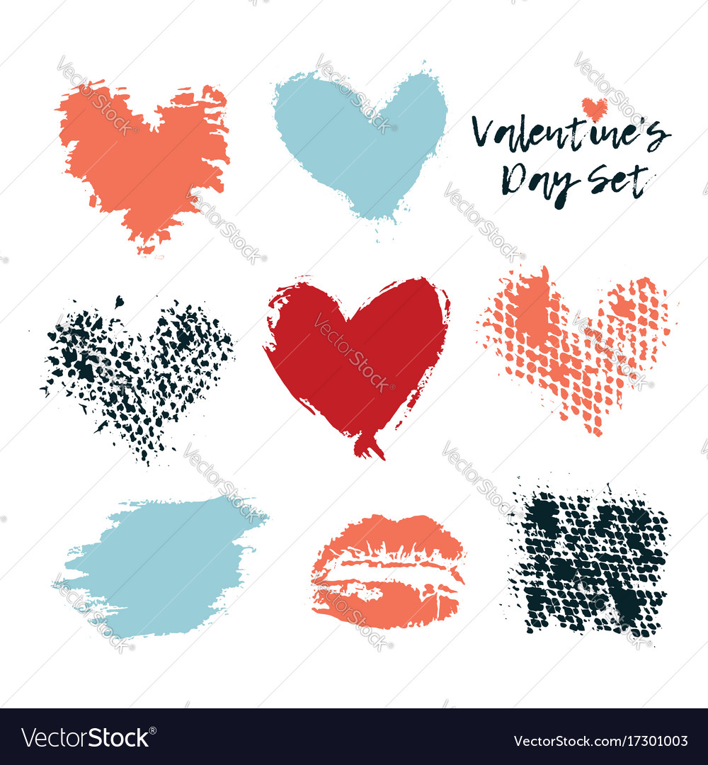 Love heart set grunge hand vector image