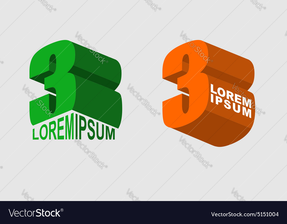 Logo 3 business sign Number three vector image