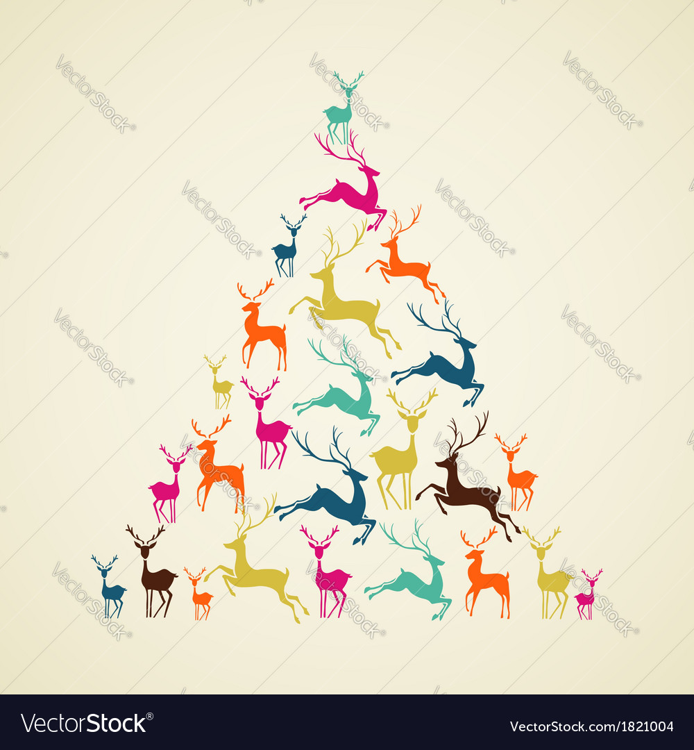 Merry Christmas reindeer pine tree shape vector image