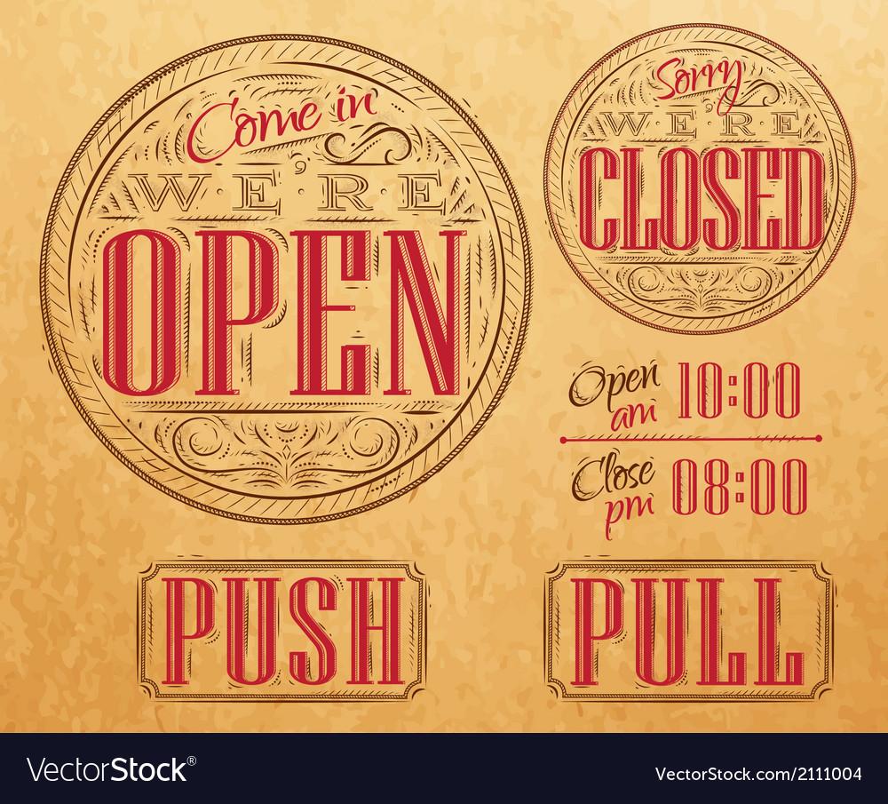 Set vintage open closed kraft vector image