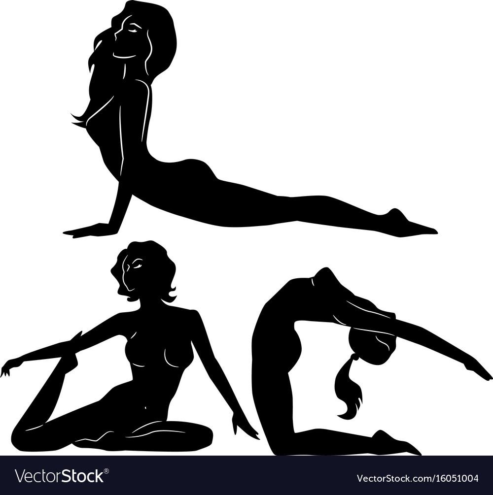 Yoga poses women silhouette vector image