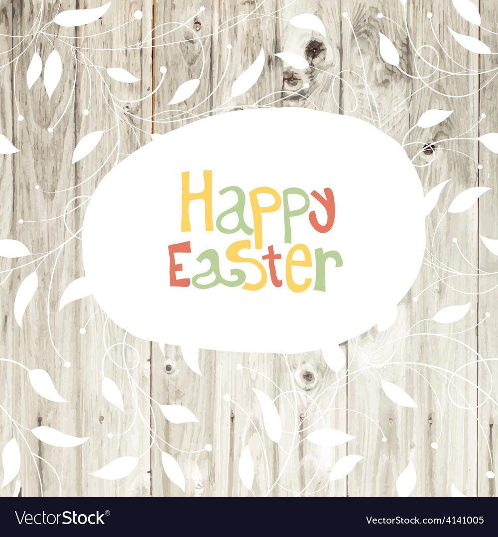 Easter card wooden back vector image