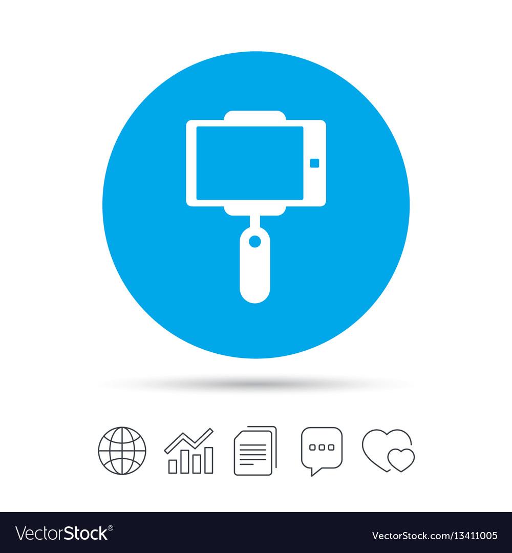 Monopod selfie stick icon self portrait vector image