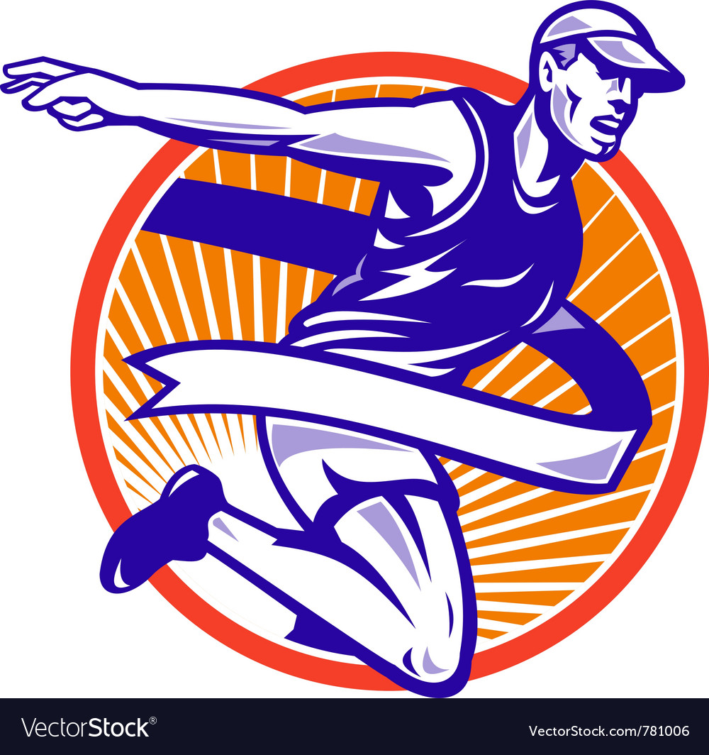 Marathon runner shield vector image