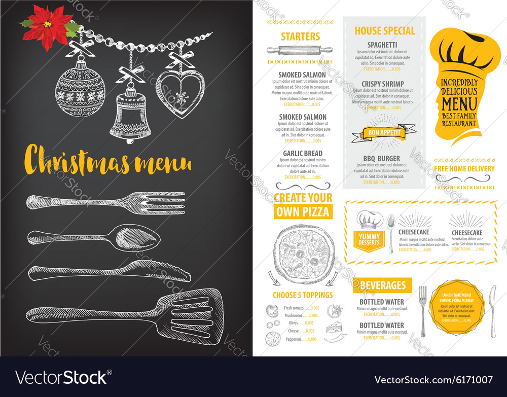 Christmas party invitation restaurant Food flyer Vector Image – Party Invitation Flyer