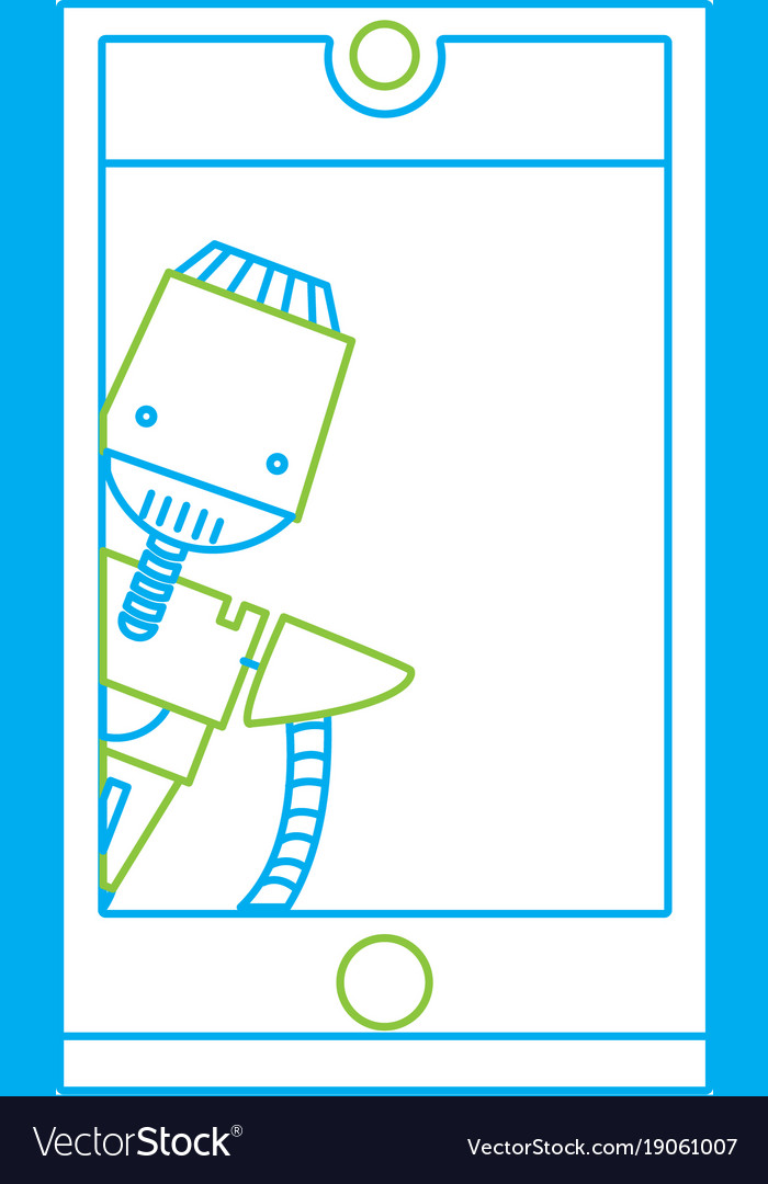 Color line smartphone technology with robot vector image