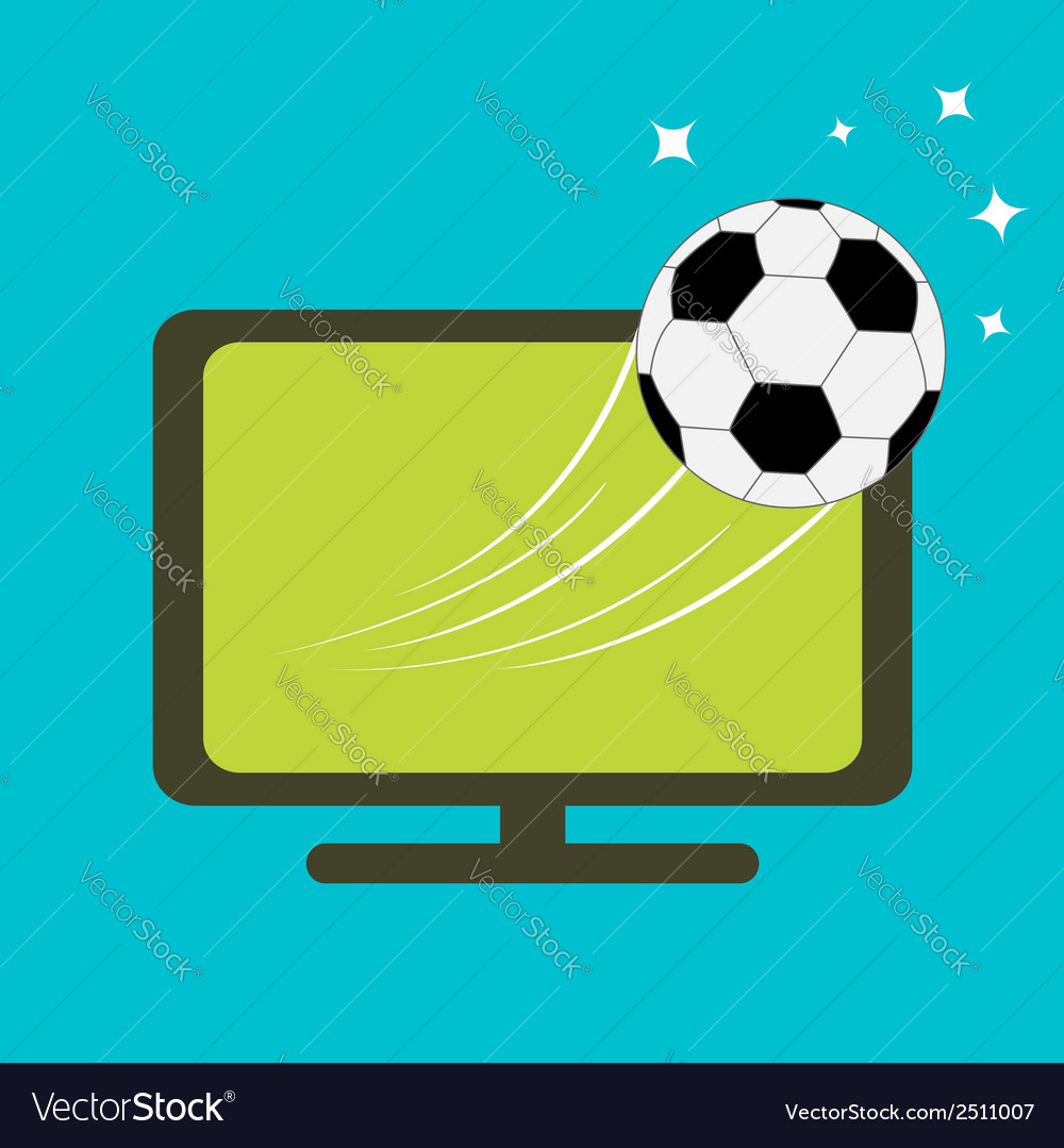 Football soccer ball flying from TV set Flat desig vector image