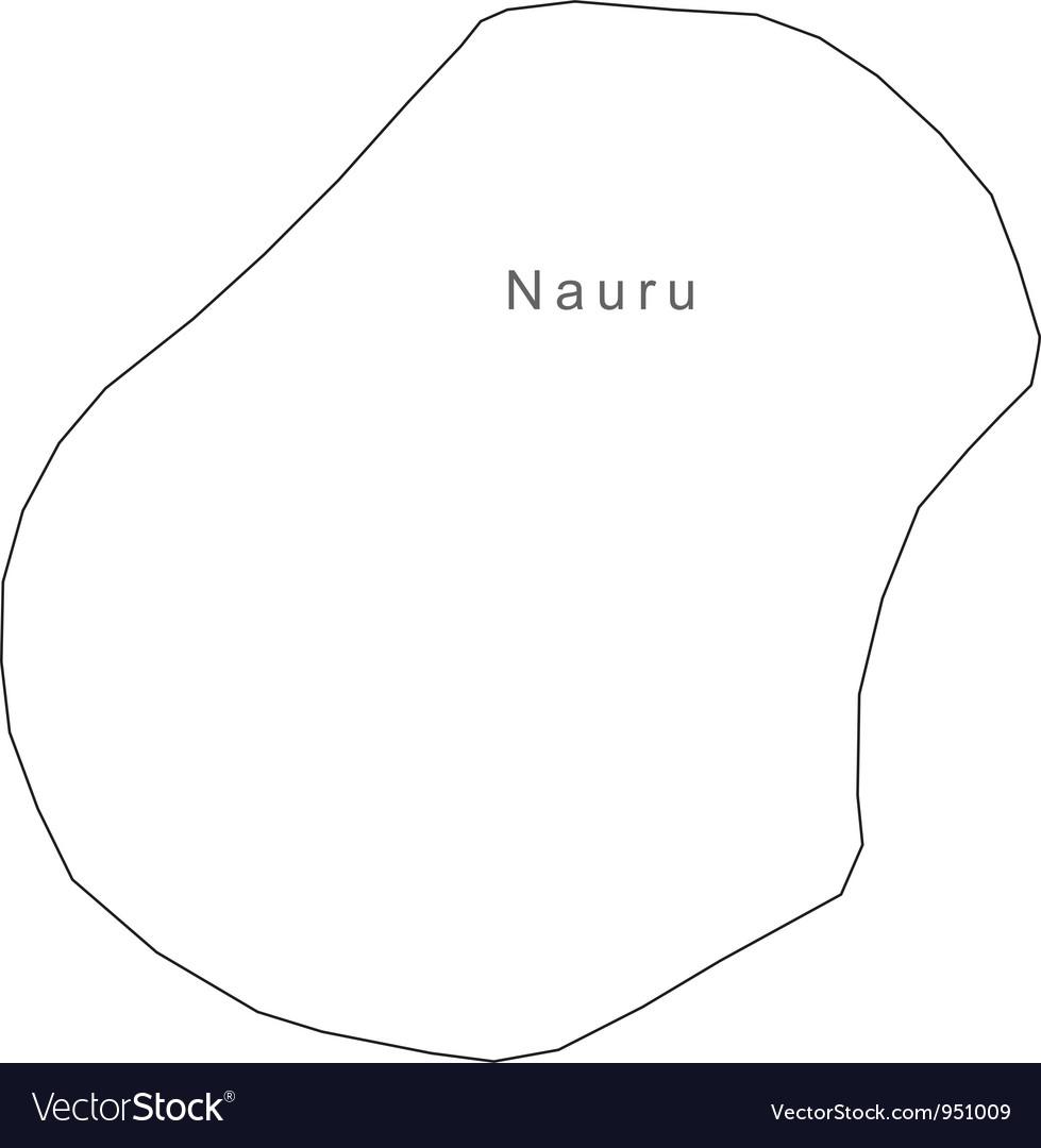 Black White Nauru Outline Map Royalty Free Vector Image - Nauru map vector