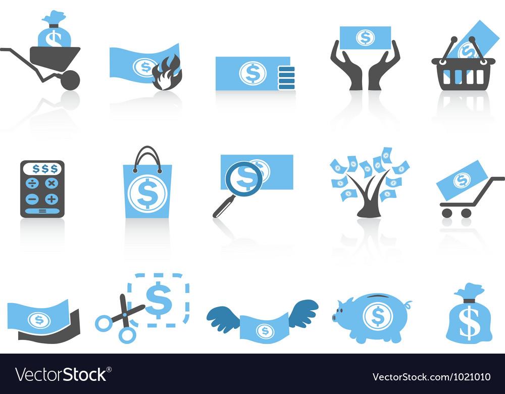Simple money iconblue series vector image