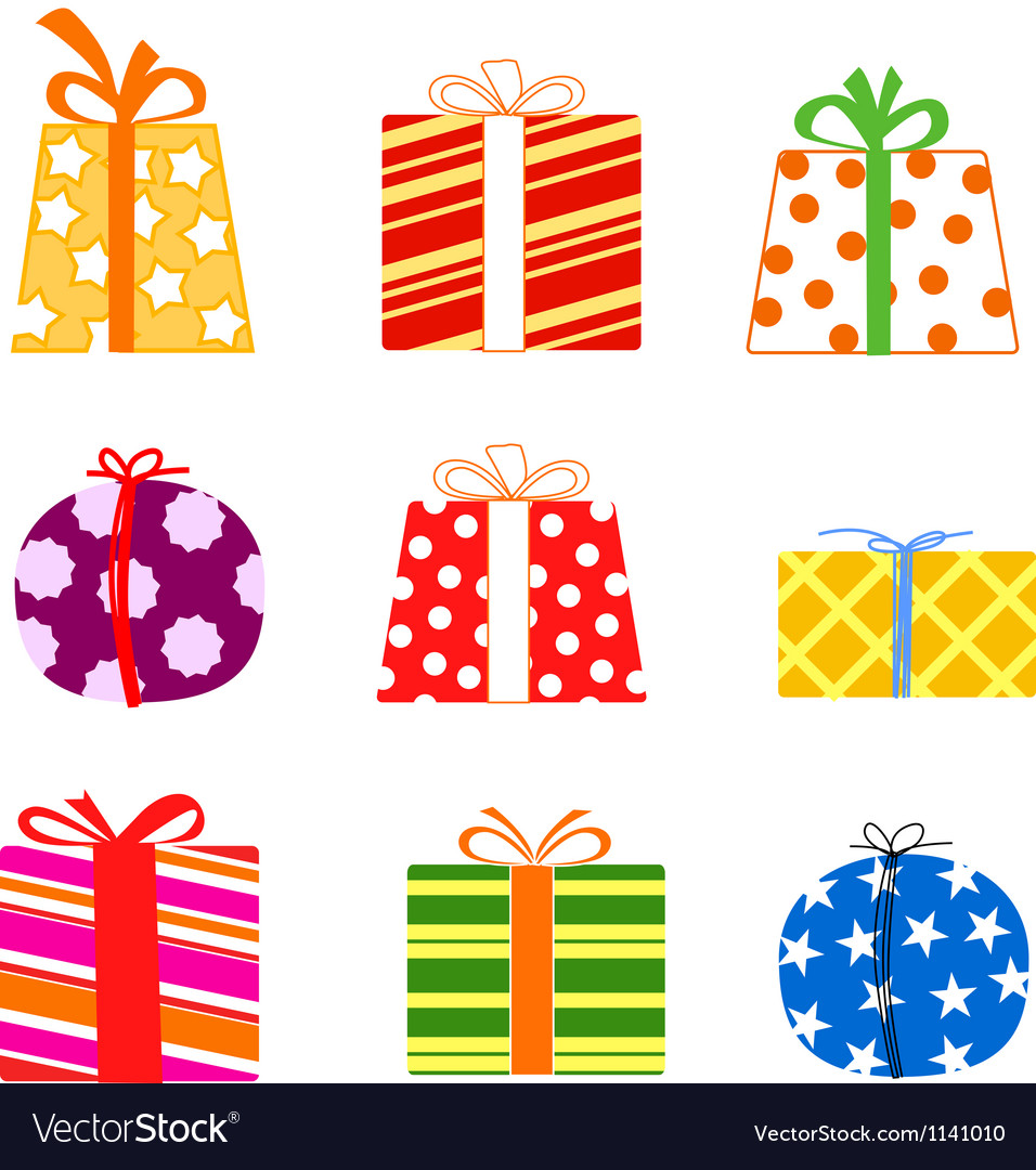 Color gift boxes vector image