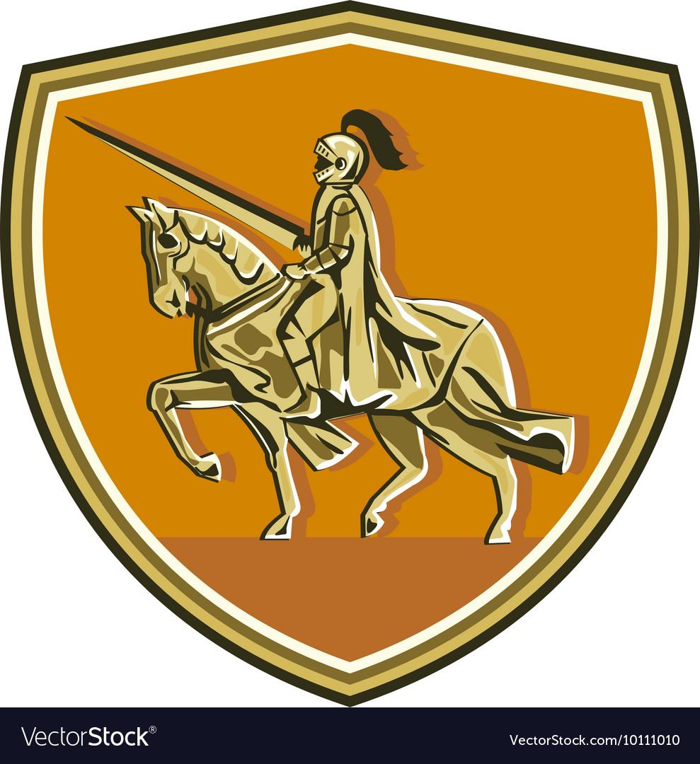 Knight Riding Steed Lance Shield Retro vector image