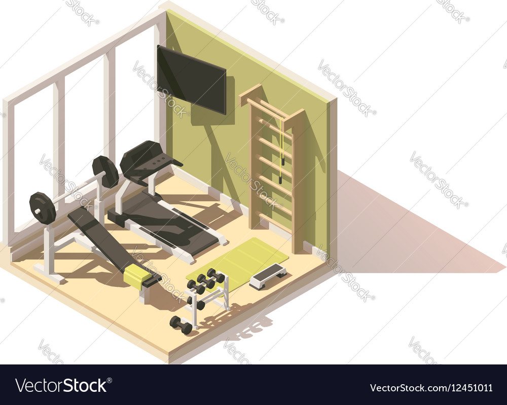 Isometric low poly gym oom icon vector image