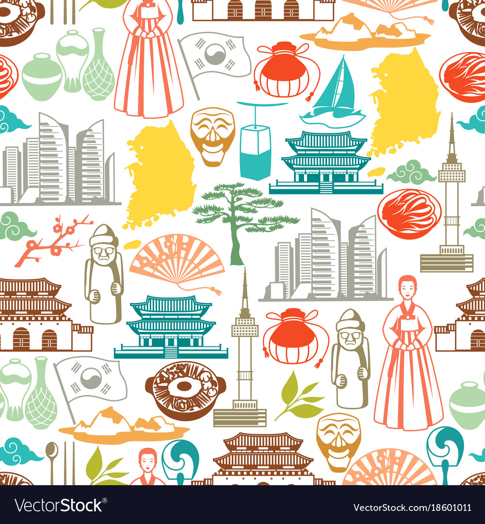 Korea seamless pattern korean traditional symbols vector image biocorpaavc Image collections