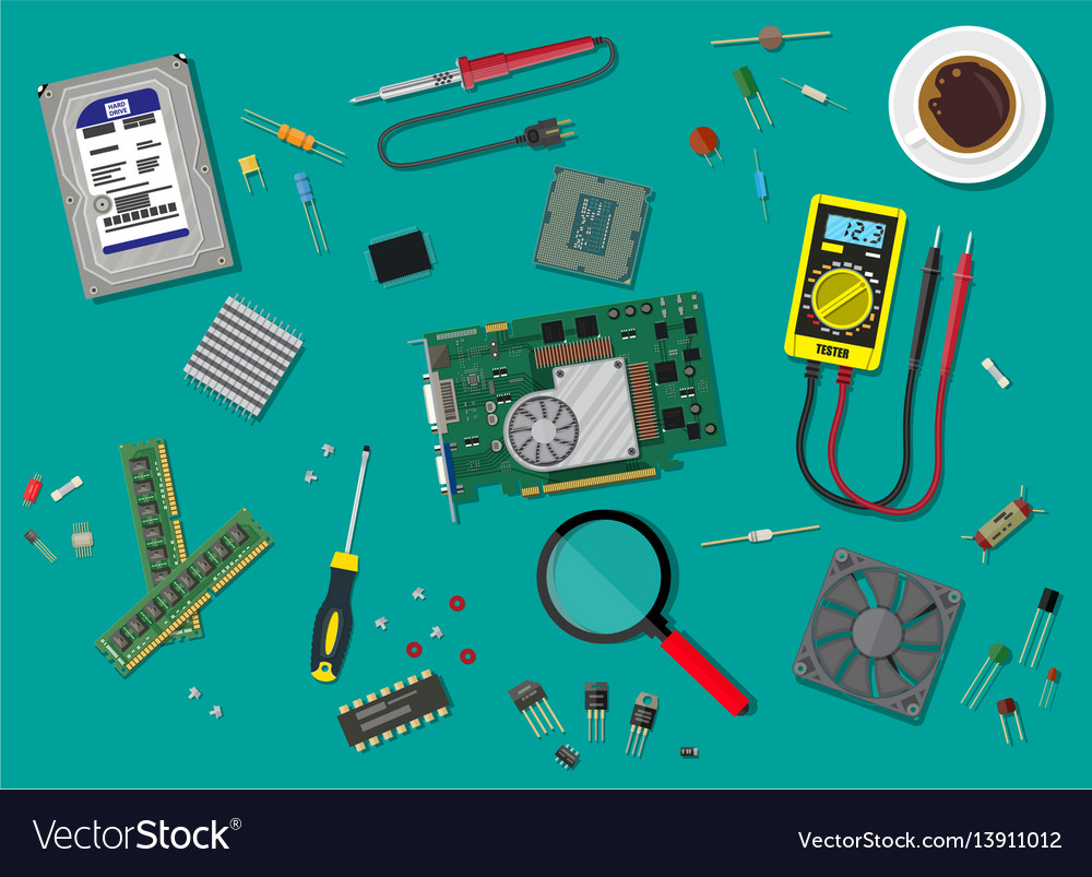 Pc service personal computer hardware vector image