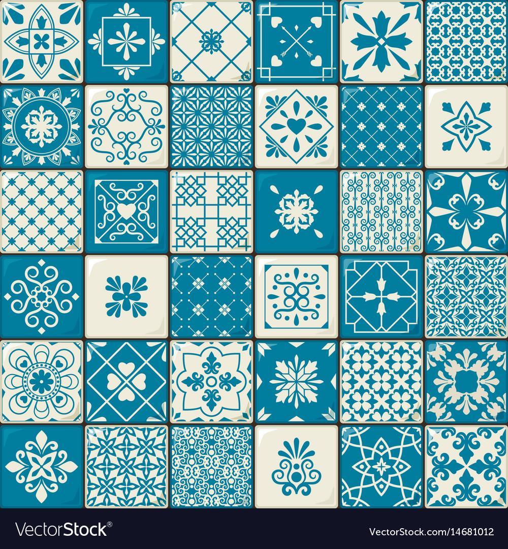 Vintage oriental moroccan tiles patterns set Vector Image