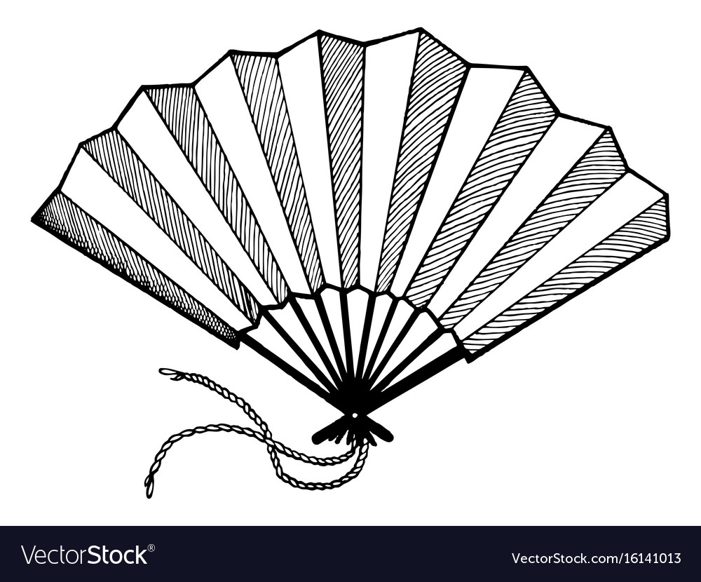 Hand fan engraving style vector image