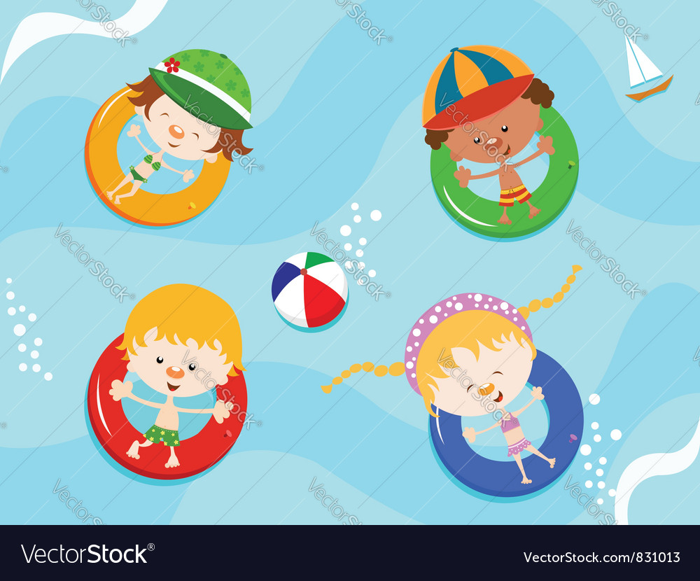 Kids Enjoying Water vector image