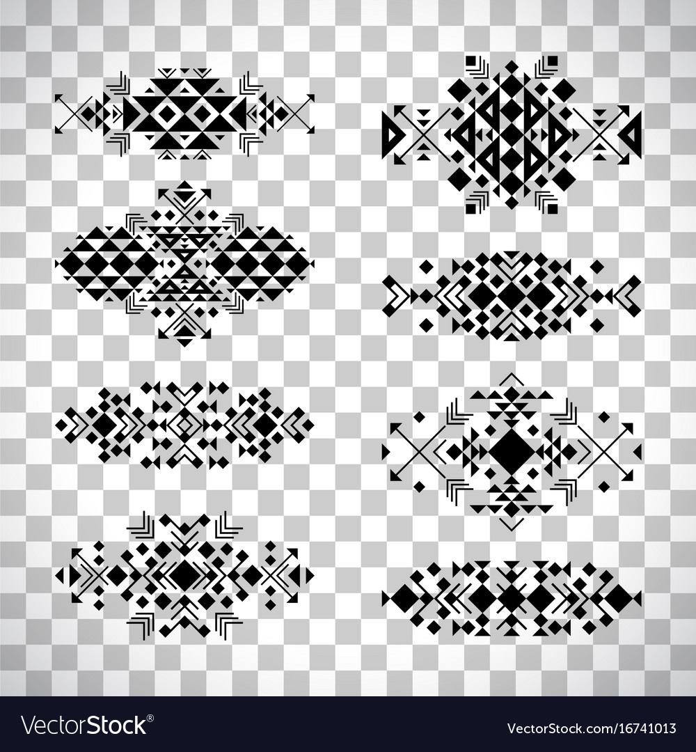 Tribal elements in ethnic style set vector image