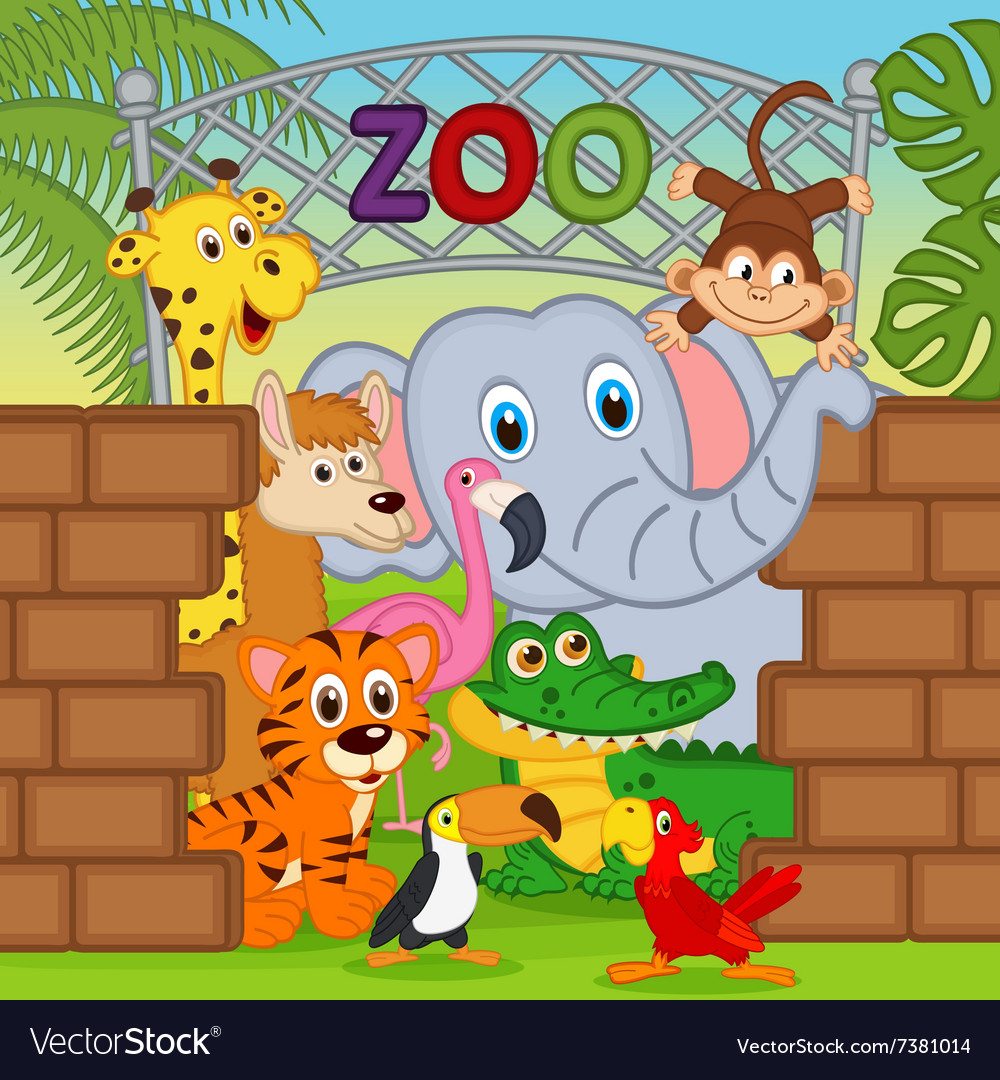 Animals at the zoo vector image