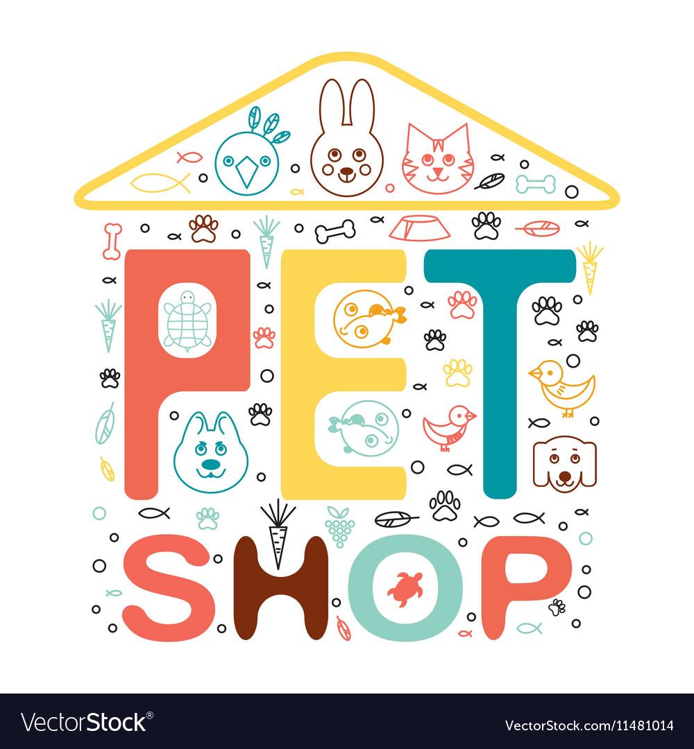Logo design template for pet shops animal vector image