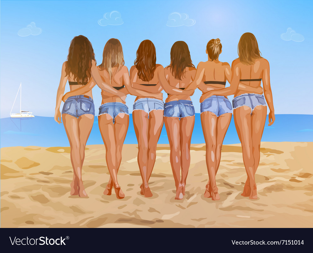 Six sexy women on beach vector image