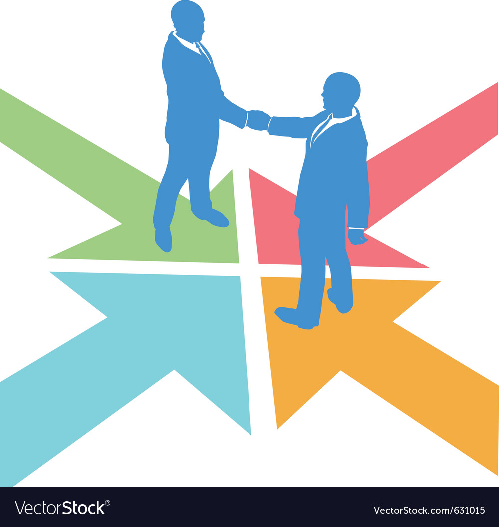 All paths lead to the deal as business people meet Vector Image