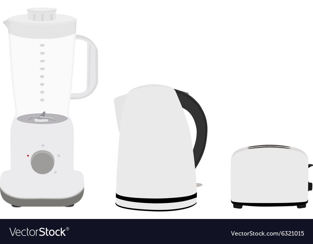 Kettle toaster nad blender vector image