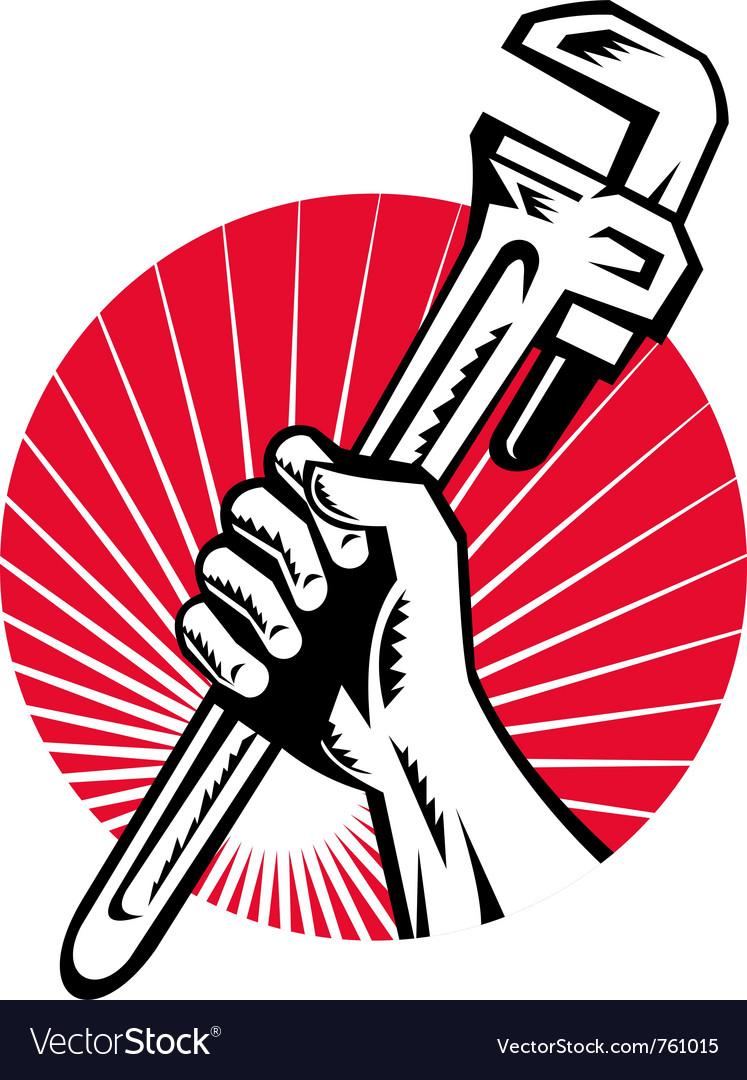 Plumber hand holding monkey vector image
