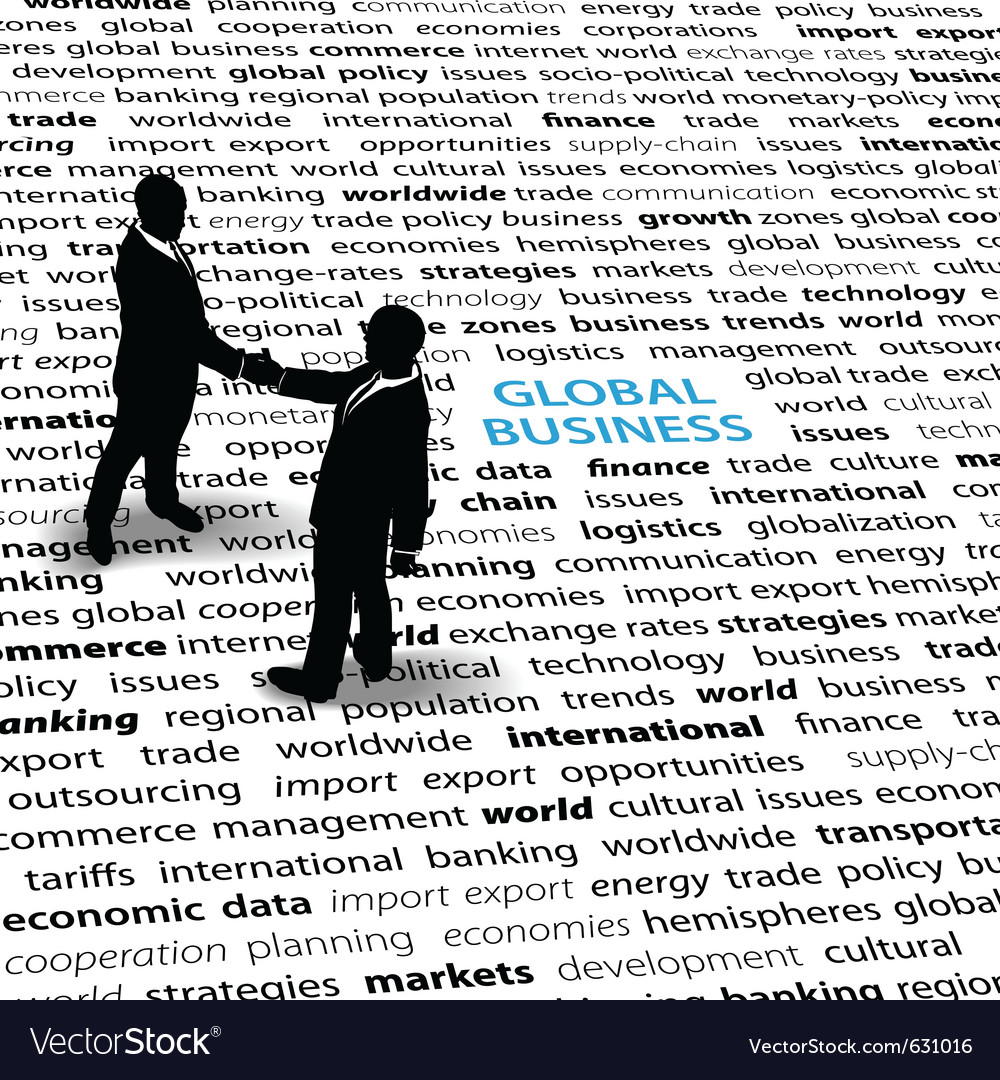 Business people stand on a text page to shake hand Vector Image